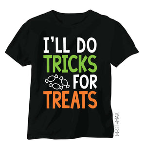 I'll Do Tricks for Treats - Kid's Black Tee/Hooded Long Sleeve - West+Mak