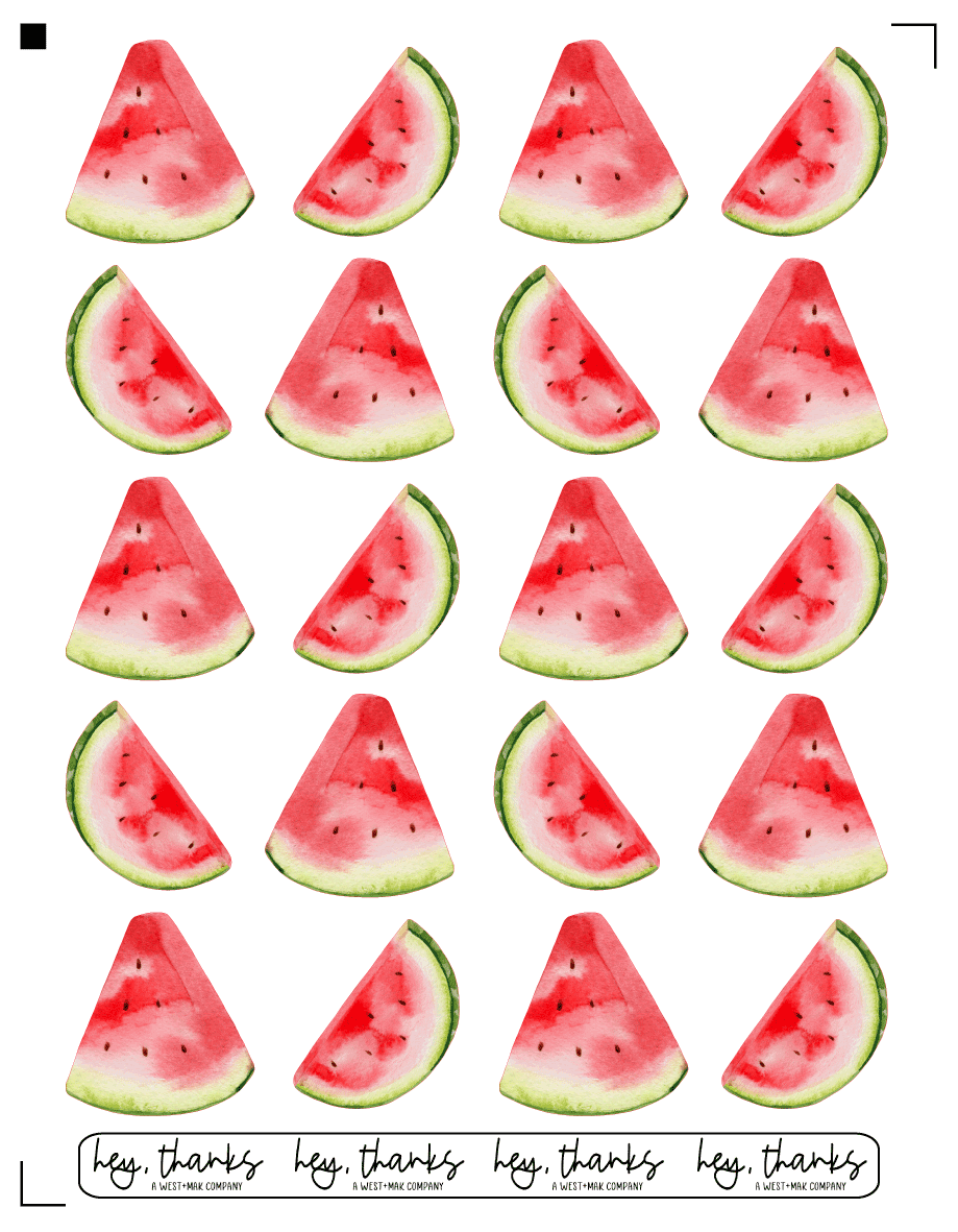Watermelon - Sticker Sheet (20 Stickers)