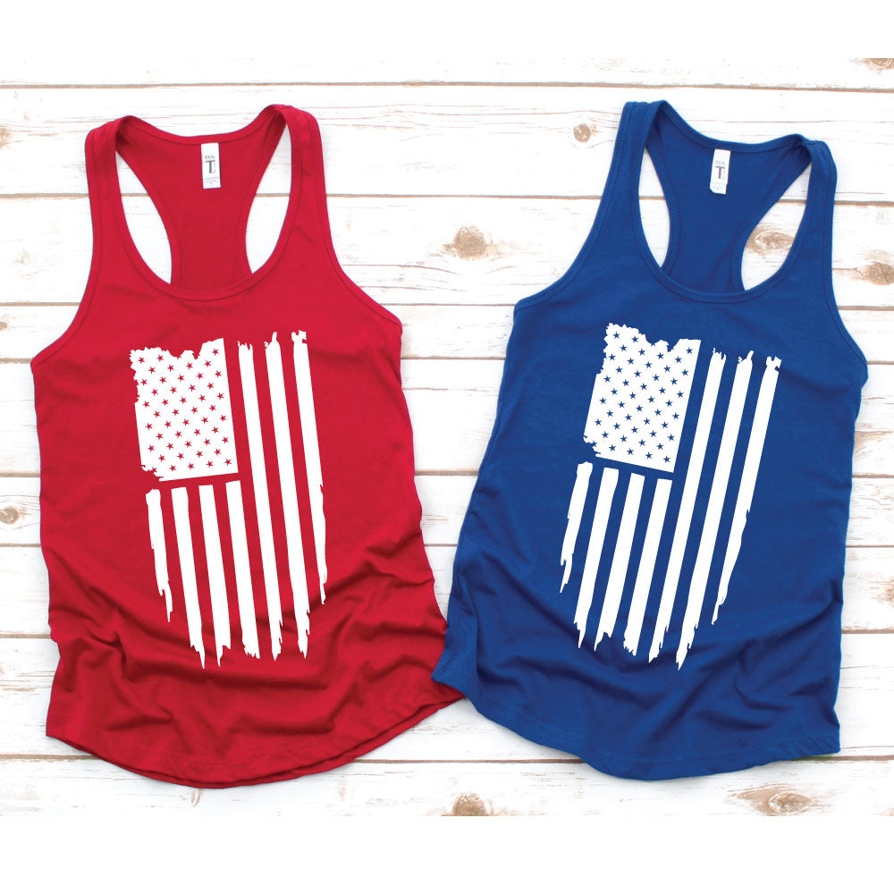 American Flag - Women's Tank or Unisex Tee - West+Mak