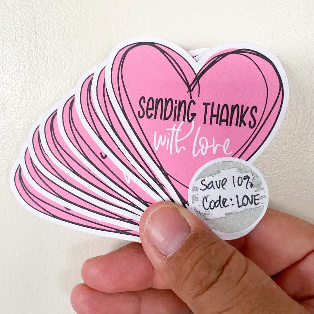 Sending Thanks with Love Scratcher - Individually Cut