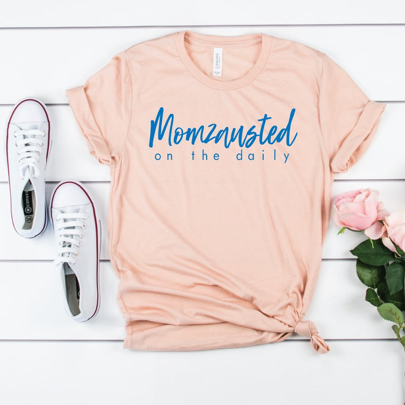 Momzausted on the Daily - Peach Unisex Tee - West+Mak