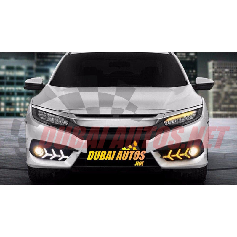 Honda Civic 16 18 Drl Led Fog Light Covers Arrow Style