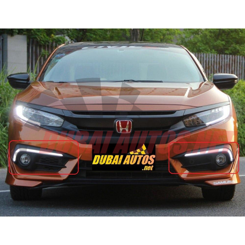 Honda Civic 16 18 Drl Led Fog Light Covers Audi Style