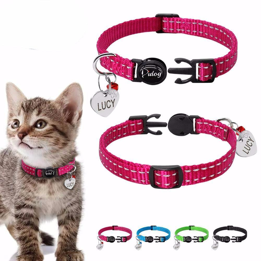 Custom cat collars with free id tag engraving