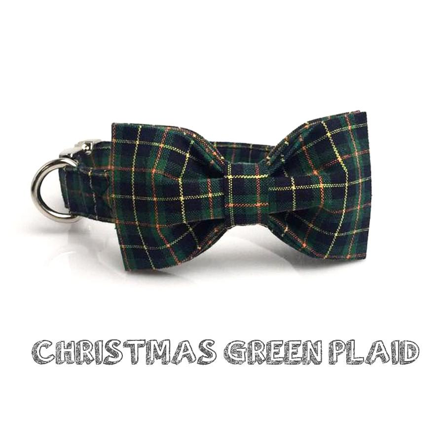 Christmas Green Plaid Dog Collar With Bow Tie