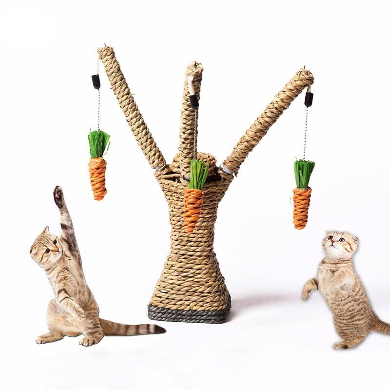 Cat Scratching Tree Toy With Dangling Carrots