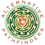 Alternative Pathfinders Logo, Maze with heart in center.