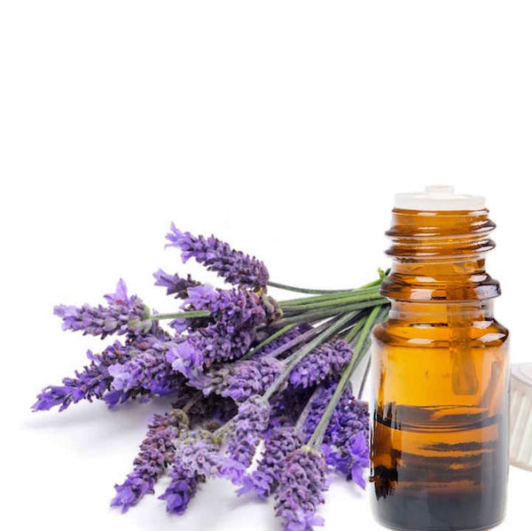 Lavender flowers next to a bottle of essential oil.
