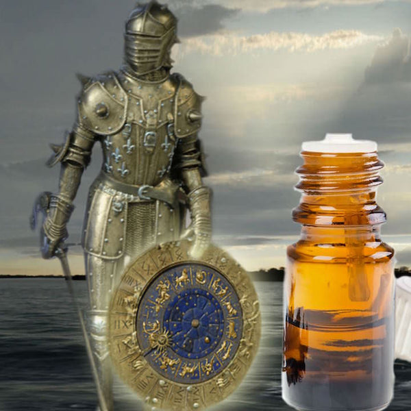 A knight in golden armor holding a gold & blue shield, standing next to a bottle of essential oil.