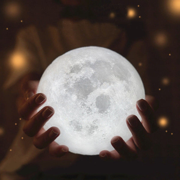 3D LED Full Moon Night Light with Base