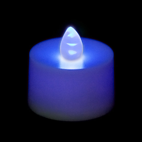 Blue LED Tea Light, Available in Flicker/ Non-Flicker - Pack of 12 - IntelliWick