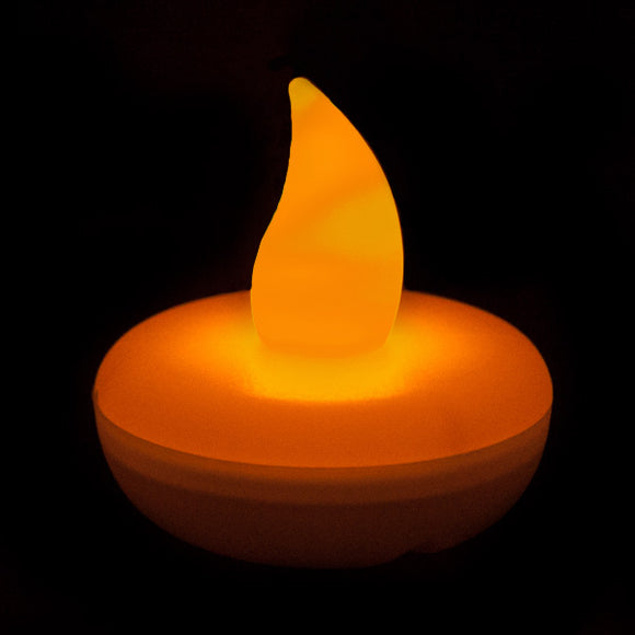 Orange LED Floater, Available In Flicker/ Non-Flicker - Pack of 12 - IntelliWick