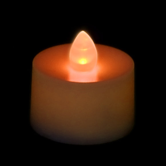 Orange LED Tea Light, Available in Flicker/ Non-Flicker - Pack of 12 - IntelliWick