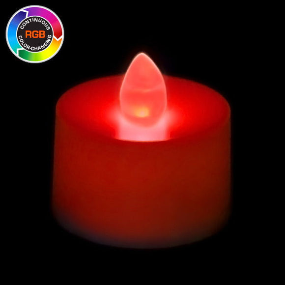 RGB LED Tea Light, Available in Flicker/ Non-Flicker - Pack of 12 - IntelliWick