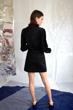 Cham! Turtleneck | Black Crinkle Velvet