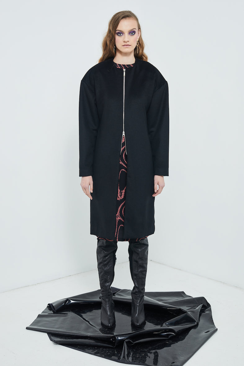 Mulholland Coat | Black Wool Coating