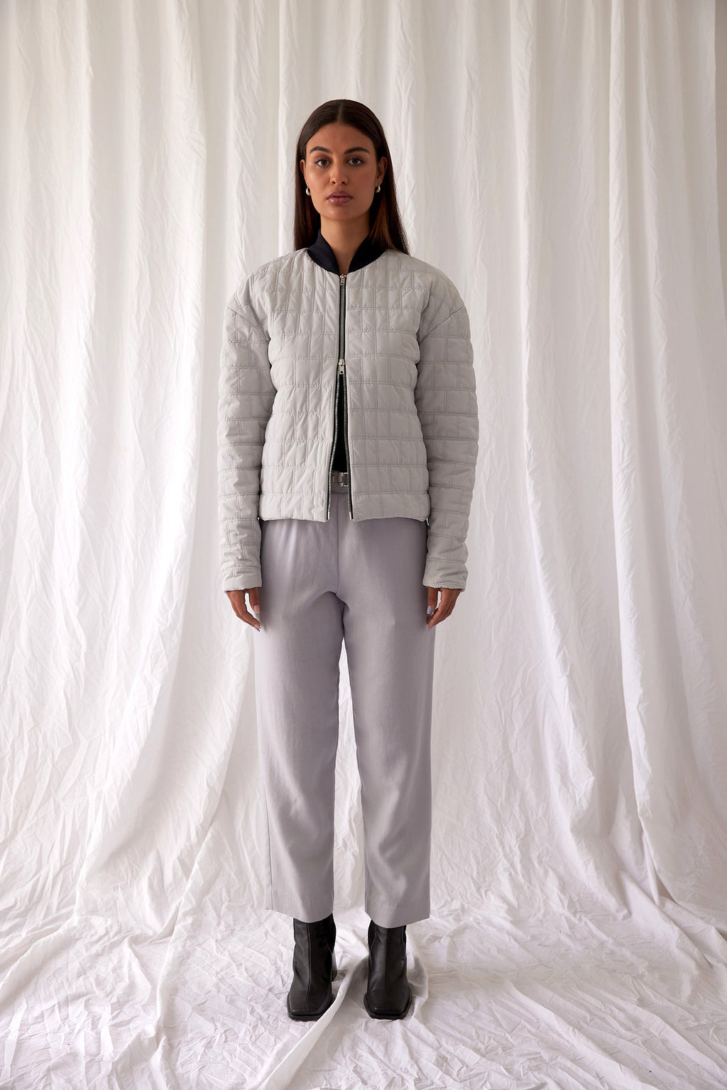 Voyager Bomber | Light Grey Puffer