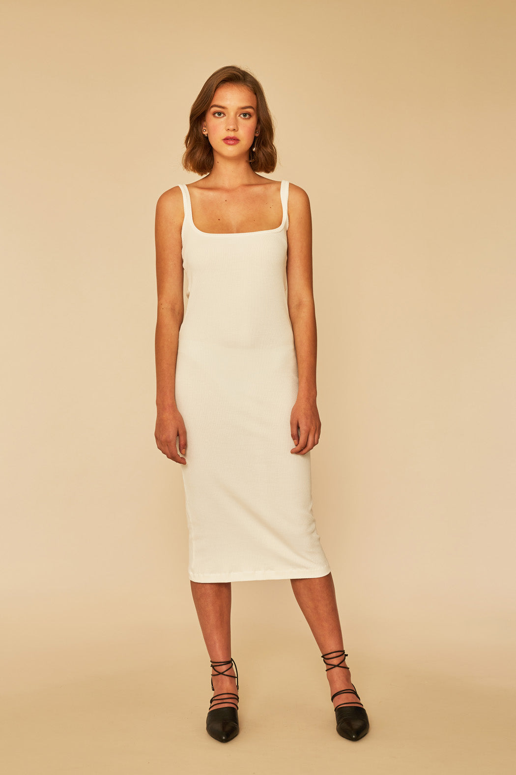 Quick Dip Rib Dress | White