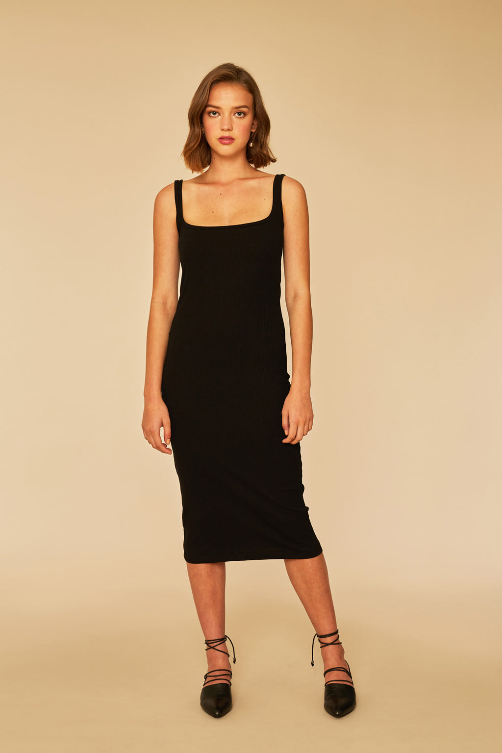 Quick Dip Rib Dress | Black