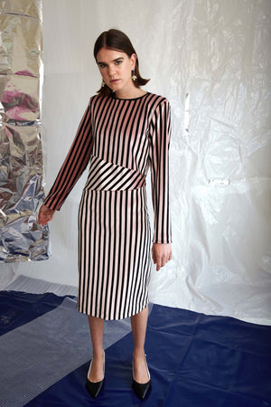 Ziggy Dress | Pink Velvet Stripe