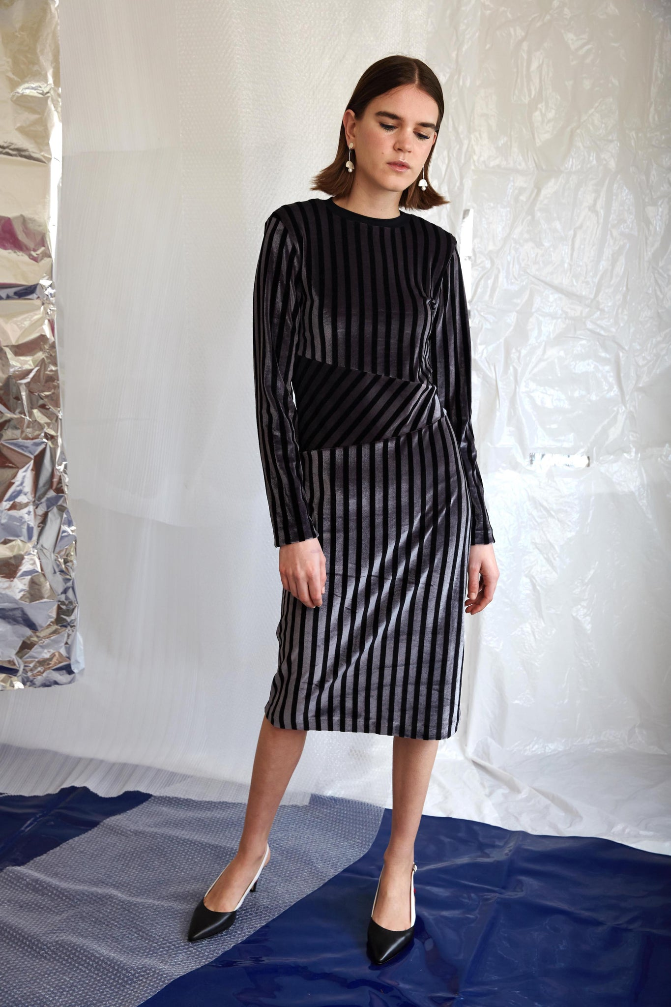 Ziggy Dress | Charcoal Velvet Stripe
