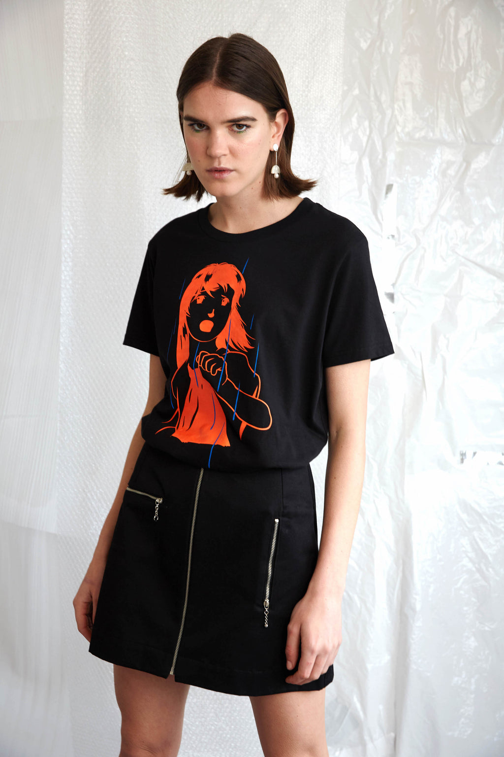 Escape Print Tee | Black Organic Cotton
