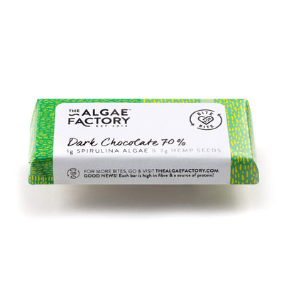 TAF - Bars Extra Dark Chocolate 70% with Hemp Seeds & Spirulina