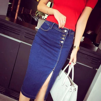 Jace Knee-Length Denim Skirt