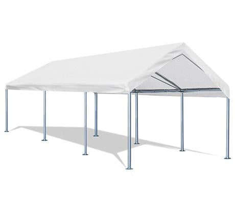 Quictent 10¡¯x20¡¯ Carport Heavy Duty Car Canopy Galvanized Car Boat Shelter with 4 Reinforced Steel Cables White