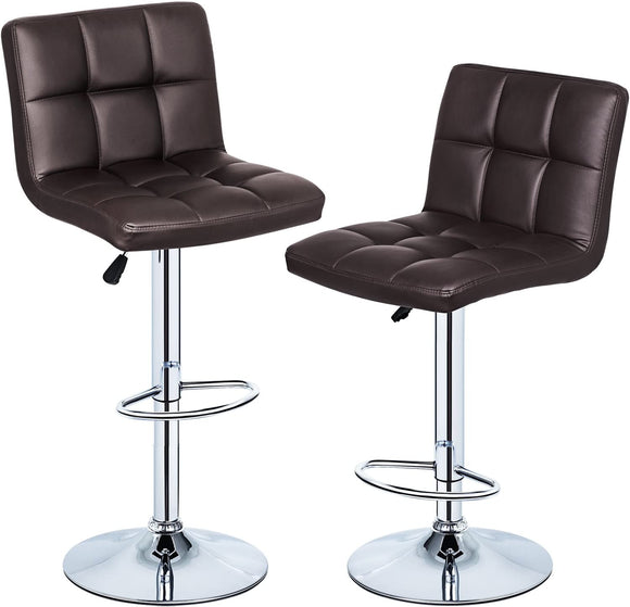 Health Line Adjustable Swivel Hydraulic Lift Bar Stool, Set of 2-Brown