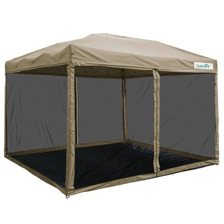 Quictent 8x8 Ez Pop up Canopy with Netting Screen House Instant Gazebo Party Tent Mesh Sides Walls With Groundsheet Tan