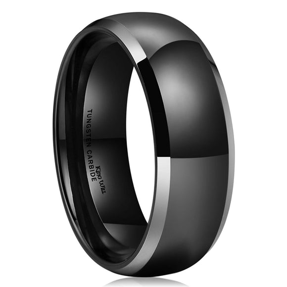 King Will TYRE Unisex 8mm Black Domed Tungsten Ring High Polished Classic Wedding Engagement Band Two Tone