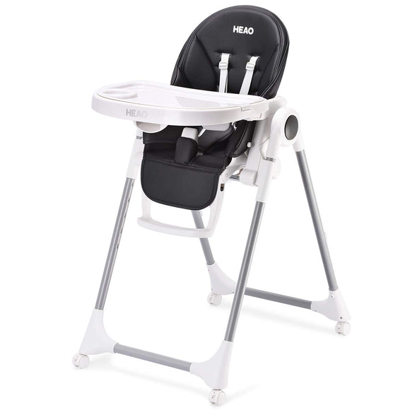 HEAO Adjustable Foldable & Portable 360° Rotating Wheels High Chair-Black