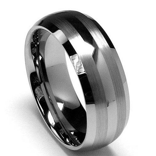 King Will TYRE Men's 8mm Tungsten Ring Matte Line Wedding Band R022