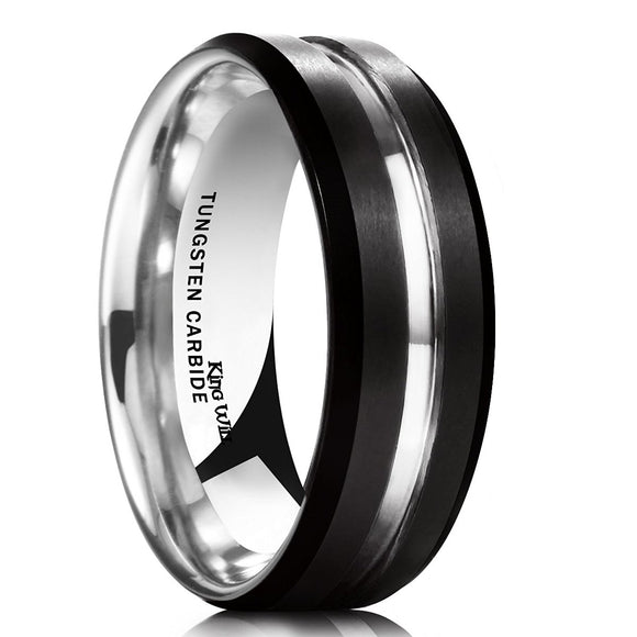 King Will LOOP 7mm Black Matte Brushed Tungsten Carbide Ring Thin Line Mens Comfort Fit Beveled Edge Wedding Band