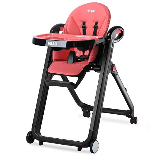 HEAO Foldable High Chair Reclining Height Adjustable 4 Wheels (Grey)