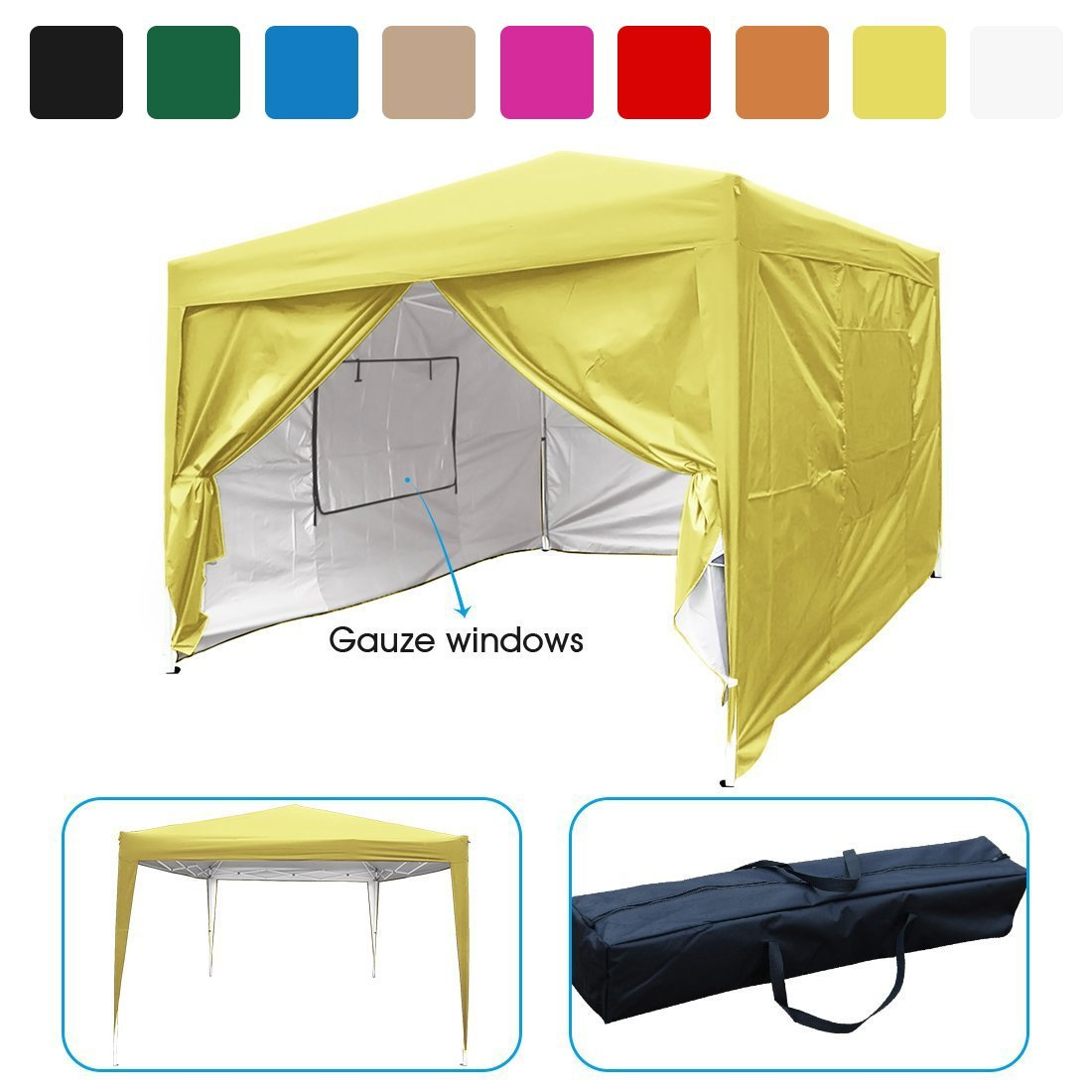 Quictent Privacy 10 X10 Ez Pop Up Canopy Tent Yellow