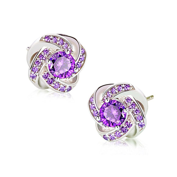 NaNa Chic Jewelry Women Zircon Gorgeous Violet Sterling Silver Earrings Love Mother's Day Gift for Her