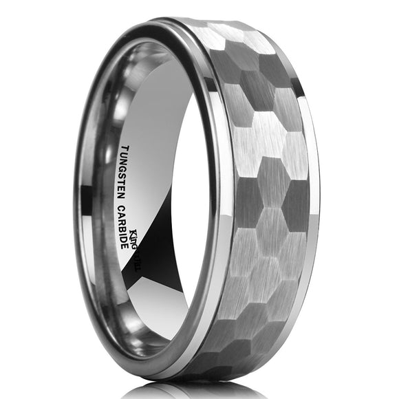 King Will HAMMER 8mm Silver Tungsten Ring Men Wedding Band R074