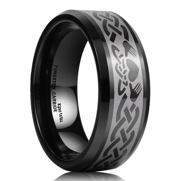 King Will Men's 8mm Black Tungsten Carbide Ring Laser Irish Claddagh Engagement Polish Wedding Band Comfort Fit