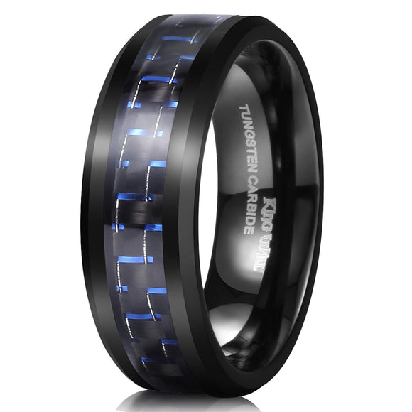 King Will GENTLEMAN Tungsten 8mm Black and Blue Carbon Fiber Inlay High Polish Men's Wedding Band Ring