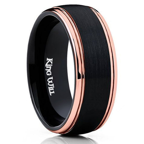 King Will Mens 8MM Black Tungsten Ring Rose Gold Brushed Wedding Band R070