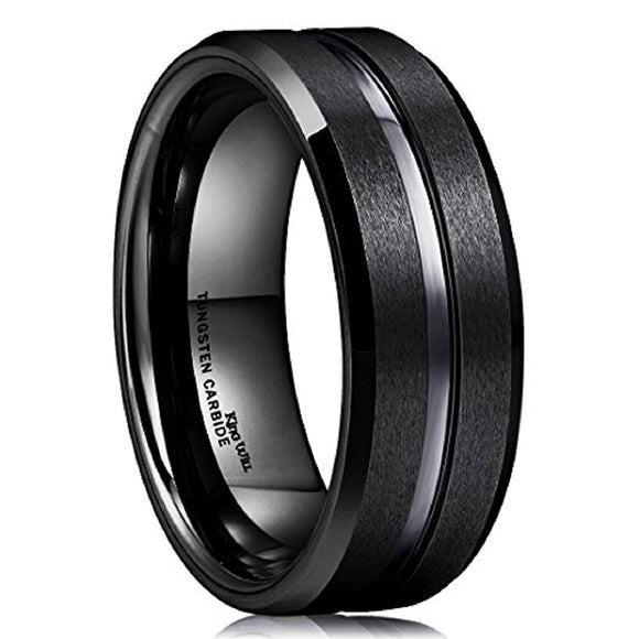 King Will CLASSIC 8mm Black Tungsten Ring Grooved Center Wedding Band