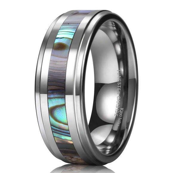 King Will NATURE Tungsten Ring Abalone Shell Inlay R105