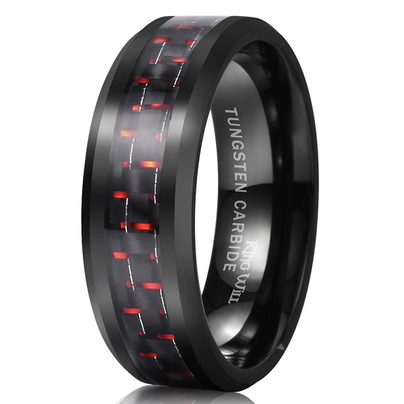 King Will GENTLEMAN 8mm Black and Red Carbon Fiber Inlay Tungsten Carbide Ring Engagement Wedding Band
