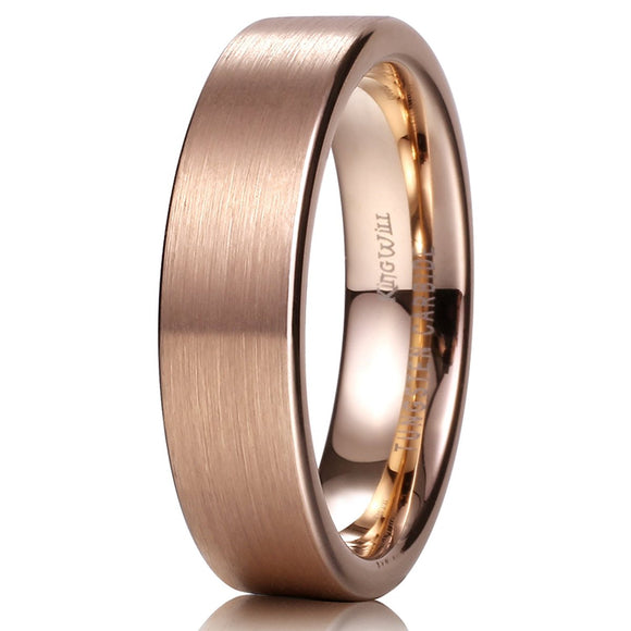 King Will GLORY Unisex 6mm Tungsten Ring 18K Rose Gold Wedding Band R191