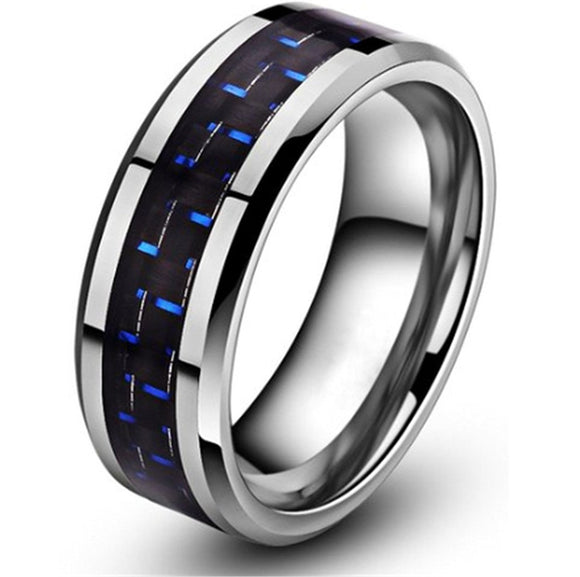 King Will GENTLEMENT 8mm Blue and Black Carbon Fiber Tungsten Carbide Ring Wedding Band Polished Finish