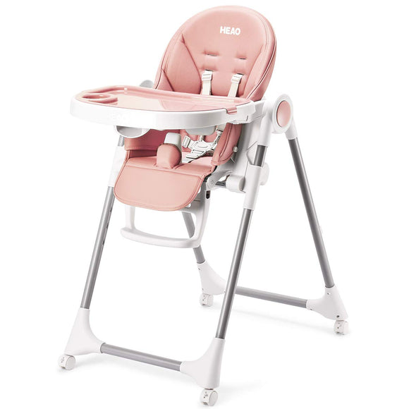 HEAO Adjustable Foldable & Portable 360° Rotating Wheels High Chair-Pink