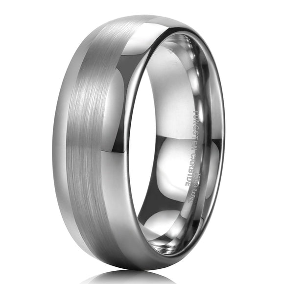 King Will TYRE 8mm Men's Tungsten Ring Domed Wedding Band R122