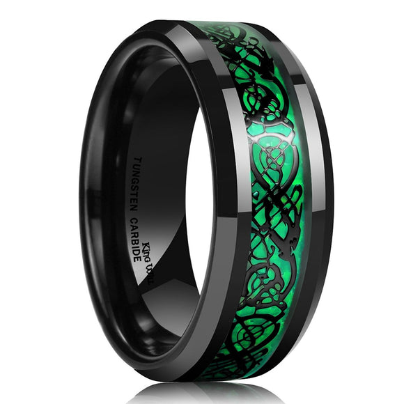 King Will Men's 8mm Green Tungsten Ring Celtic Dragon Wedding Band